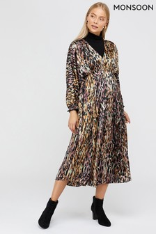 Monsoon Purple Agnes Animal Print Midi Dress