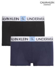Calvin Klein Blue Minigram Trunks Two Pack