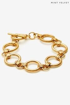 Mint Velvet Gold Tone Ring Link Bracelet