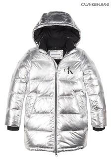 Calvin Klein Silver Padded Coat