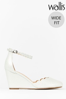 Wallis Wedding Wide Fit White Ankle Strap Scallop Wedges