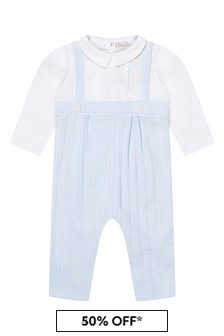 Baby Boys Pale Blue Cotton Cable Knit Romper