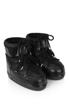 Girls Black Low Glance Snow Boots