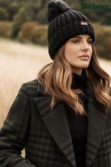 Barbour® Rib Knit Beanie With Faux Fur Pom