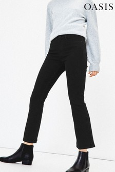 Oasis Black New Frances Crop Bootcut Jeans