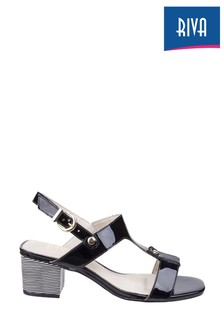 Riva Black Hot Heels Fabia T-Bar Mule Sandals