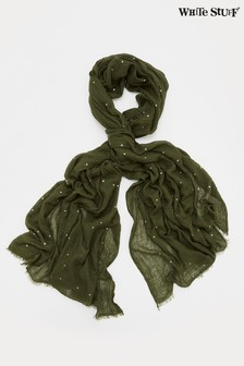 White Stuff Green Recycled Foil Dreaming Away Scarf