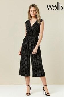 Wallis Petite Black Spot Wrap Culotte Jumpsuit
