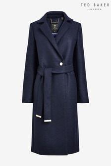Ted Baker Blue Chelsyy Buttoned Wrap Coat