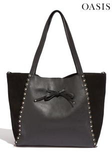 Oasis Black Leather Scallop Tote Bag