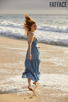 FatFace Blue Nita Chambray Maxi Dress