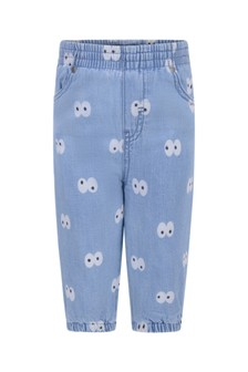 Baby Blue Chambray Cartoon Eyes Jeans