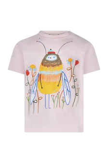 Baby Girls Pink Cotton Bee Print T-Shirt