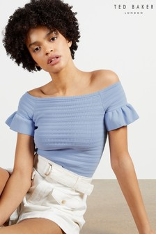 Ted Baker Blue Misteey Bardot Frill Detail Knitted Top