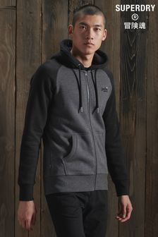 Superdry Black Classic Raglan Zip Through Hoody