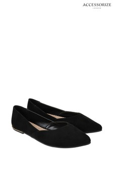 Accessorize Black Point Ballerinas