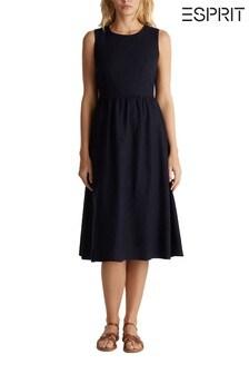Esprit Blue Linen Viscose Midi Dress