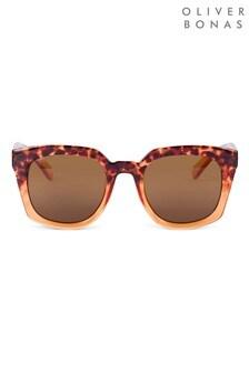Oliver Bonas Brown Wayfarer Ombre Tortoiseshell Sunglasses
