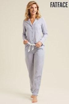 FatFace Natural Stripe Classic Pyjama Set