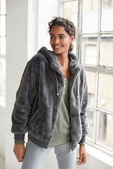 Zip Through Faux Fur Hoody