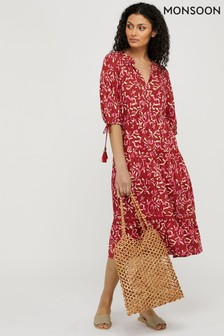 Monsoon Red Blake Woodblock Print Midi Dress