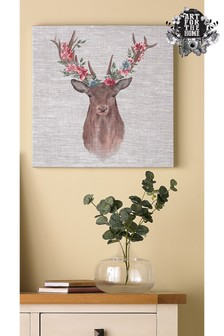 Watercolour Floral Stag Wall Art by Art For The Home