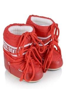Moonboots Baby Red Mini Nylon Snow Boots