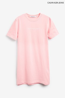 Calvin Klein Jeans Pink Institutional Logo T-Shirt Dress