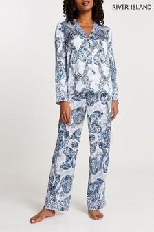 River Island Blue Ornate Printed Pyjama Trousers