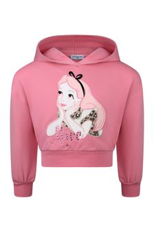 Girls Pink Cotton Hooded Alice Sweater