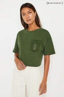 Warehouse T-Shirt im Utility-Stil, Grün
