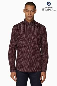 Ben Sherman Red Long Sleeve Micro Geo Shirt