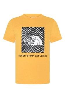 Boys Yellow Cotton Box Logo T-Shirt