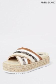 River Island Brown Cross Vamp Espadrille Sandals
