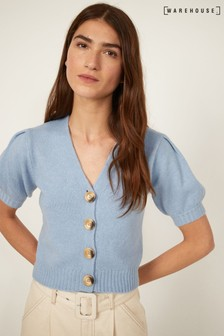 Warehouse Light Blue Puff Sleeve Cropped Cardigan