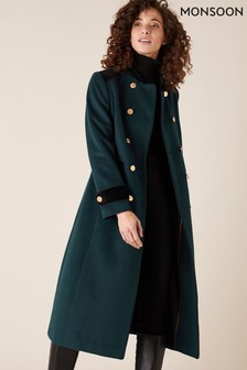 Monsoon Maddie Military Coat in Wool Blend