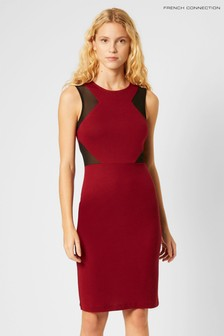 French Connection Red Manhatten Jersey Sleeveless Panelled Dress
