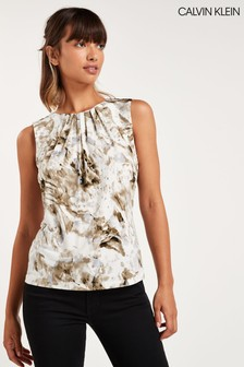 Calvin Klein Grey Printed Pleat Sleeveless Blouse