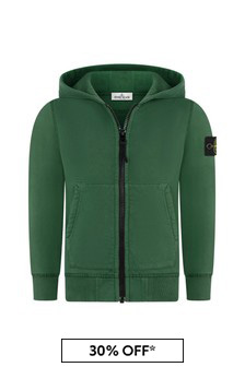 Boys Green Cotton Zip Up Top