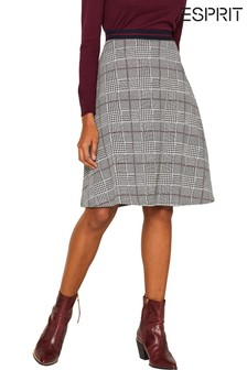 Esprit Red Knitted A-Line Skirt With Check Pattern