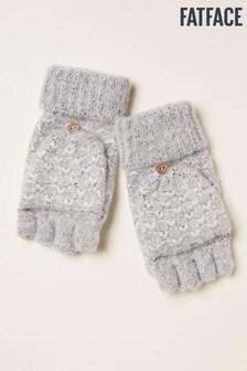 Szare, teksturowane rękawiczki z dzianiny na klapkę FatFace