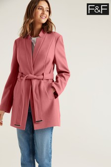 F&F Notch Neck Belted Pink Coat