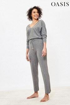 Oasis Grey Rib Wide Leg Trousers