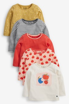 5 Pack Bright Apple Long Sleeve Tops (3mths-7yrs)