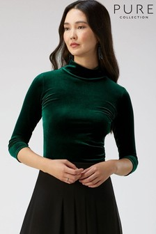 Pure Collection Green Velour High Neck Top