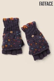 Niebieskie rękawiczki z dzianiny na klapkę FatFace