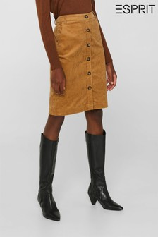 Esprit Brown Corduroy Skirt With Buttoned Front