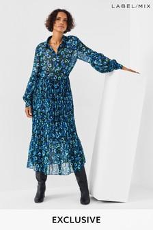 Next/Mix Floral Print Pleat Dress