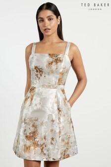 Ted Baker White Joniee Vanilla Jacquard Mini Dress