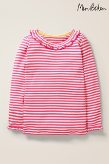 Boden Pink Ruffle Neck Pointelle Top